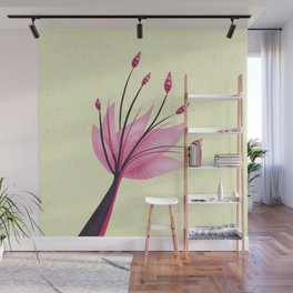 Pink Abstract Water Lily Flower Wall Mural