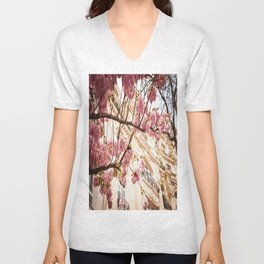 Flowers and Building Unisex V-Neck