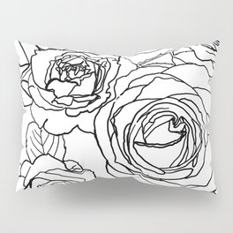 Feminine and Romantic Rose Pattern Line Work Illustration Pillow Sham
