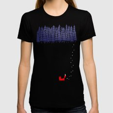 Alone in the forest Womens Fitted Tee Black MEDIUM