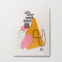Mid Century Art by Enshape Ejaaz Haniff 'Party Champagne' Fun Colorful Yellow Pink Abstract Minimal Shape Line Patterns Metal Print