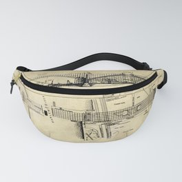 George Washington Bridge Construction Blueprint Fanny Pack