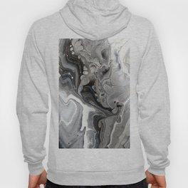 Fluid Acrylic Art - Black, Silver and White Hoody