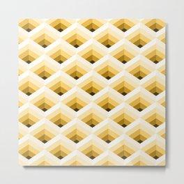 Golden Yellow Diamond Mesh Metal Print