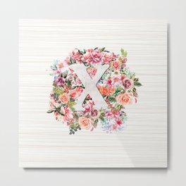 Initial Letter X Watercolor Flower Metal Print