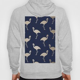 Gold Flamingo Pattern Navy Blue Hoody