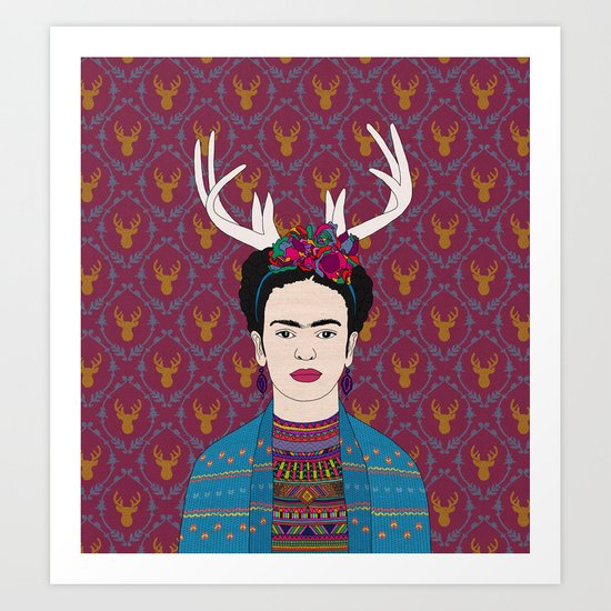 DEER FRIDA Art Print