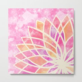 Stained Glass Lotus Metal Print