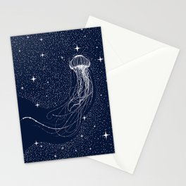 starry jellyfish Stationery Cards