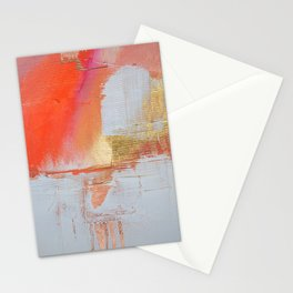 Insight: a minimal, abstract painting in reds and golds by Alyssa Hamilton Art Stationery Cards