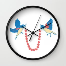Birds and necklace Wall Clock