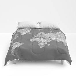 Dark gray watercolor world map with cities Comforters