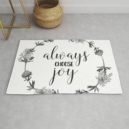 Christian Floral Quote - Always Choose Joy Rug