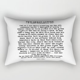 Ending of The Great Gatsby - Fitzgerald quote Rectangular Pillow