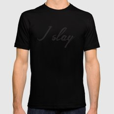 I slay ( gold typography) Mens Fitted Tee Black MEDIUM