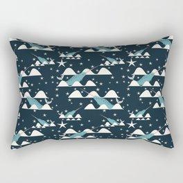 narwhal in ocean blue Rectangular Pillow
