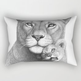 Lioness with a baby Rectangular Pillow