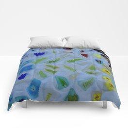 Flowers on Beach Glass 3 Comforters