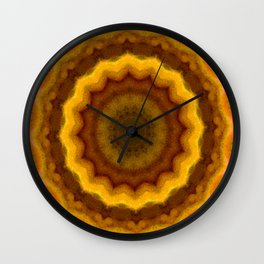Lovely Healing Mandalas in Brilliant Colors: Pink, Yellow, Gold, and Bronze Wall Clock