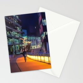 Night time in Media City Stationery Cards