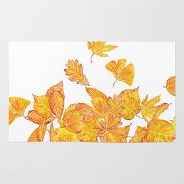falling yellow leaves watercolor Rug