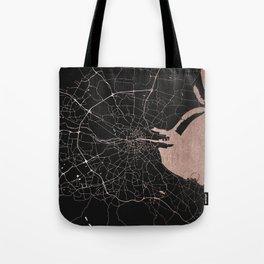 Black on Rosegold Dublin Street Map Tote Bag
