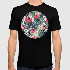 Painted Protea Pattern MEDIUM Mens Fitted Tee Black