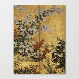 White Red Chrysanthemums Floral Japanese Gold Screen Canvas Print