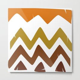 Abstract Retro shapes Set, Hand Painted Tribal Shapes, Retro Classic Colors, No 01 Metal Print