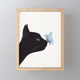 Cat and Butterfly Framed Mini Art Print