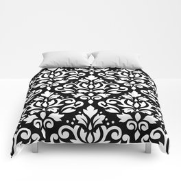 Scroll Damask Big Pattern White on Black Comforters