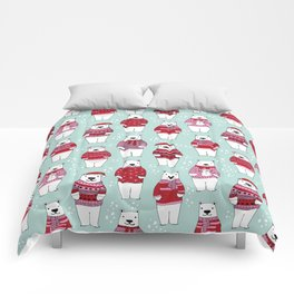Polar Bear character cute christmas sweater polar bears nature illustration pattern Comforters