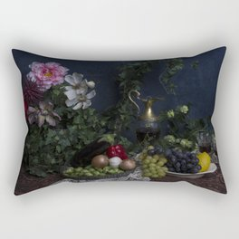Classic  still life with flowers, fruit, vegetables and wine Rectangular Pillow