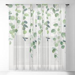 Eucalyptus Watercolor 2  Sheer Curtain