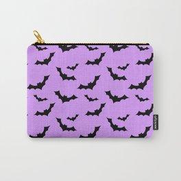 Black Bat Pattern on Purple Carry-All Pouch