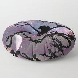 Surreal Black Bird Crow Stars Night Moon Art A492 Floor Pillow