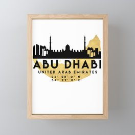 ABU DHABI UNITED ARAB EMIRATES SILHOUETTE SKYLINE MAP ART Framed Mini Art Print