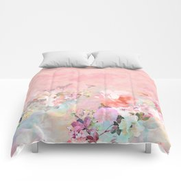 Modern blush watercolor ombre floral watercolor pattern Comforters