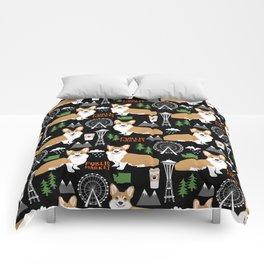 Corgi in Seattle - cute corgi dogs coffee, space needle, ferris wheel print Comforters