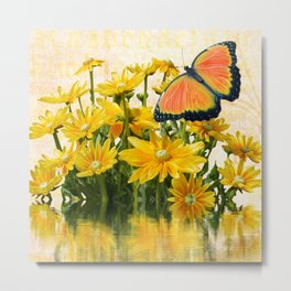 Yellow Daisies with Butterfly Metal Print