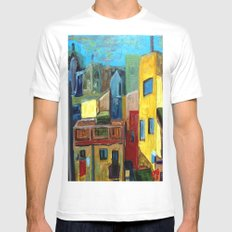 Barcelona Rooftops Mens Fitted Tee White MEDIUM