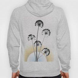 black and white flower wallpaper and the sun, flower decor, printable art Hoody
