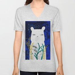 polar bear with botanical illustration in blue Unisex V-Neck
