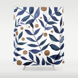 Watercolor berries and branches - indigo and beige Duschvorhang