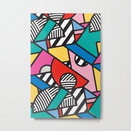Colorful Memphis Modern Geometric Shapes - Tribal Kente African Aztec Metal Print