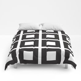 Nested Squares Black & White Comforters