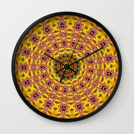 Lovely healing sacred Mandalas in yellow, orange, gold and red with a hint of white Wall Clock