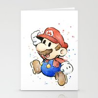 mario Stationery Cards featuring Mario Watercolor by Olechka