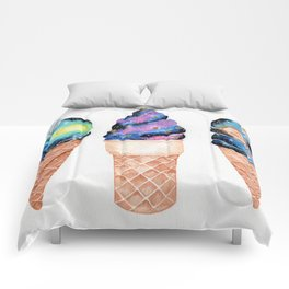 """Cosmic Cones"" watercolor galaxy illustration Comforters"