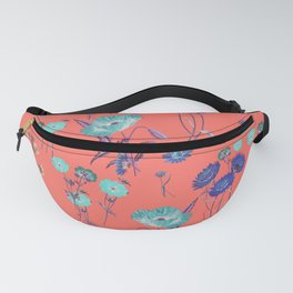 Living Coral Floral Pattern.Color of year 2019 Fanny Pack